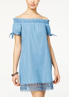 American Rag Tie-Sleeve Lace-Trim Chambray Shift Dress, Only at Macy's