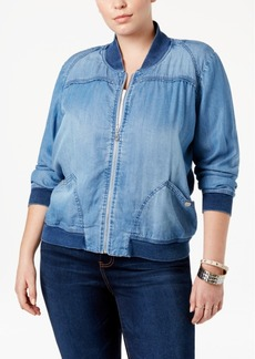 American Rag Trendy Plus Size Chambray Bomber Jacket, Only at Macy's