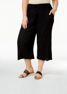 American Rag Trendy Plus Size Crinkled Culottes, Only at Macy's