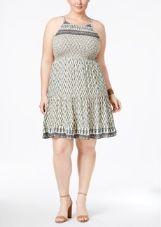 American Rag Trendy Plus Size Printed A-Line Dress, Only at Macy's
