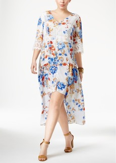 American Rag Trendy Plus Size Floral-Print High-Low Midi Dress, Only at Macy's