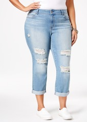 American Rag Trendy Plus Size Ripped Kenyon Wash Girlfriend Jeans, Only at Macy's