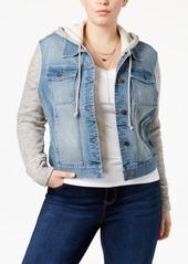 American Rag Trendy Plus Size Knit-Trim Denim Jacket, Only at Macy's
