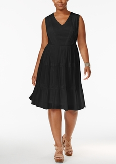 American Rag Trendy Plus Size Lace-Trim Fit & Flare Dress, Only at Macy's