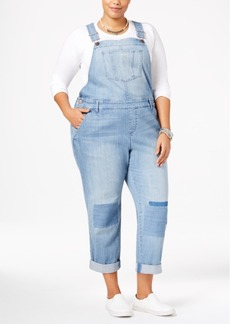 American Rag Trendy Plus Size Malfa Wash Patched Overalls, Only at Macy's