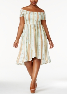 American Rag Trendy Plus Size Off-The-Shoulder A-Line Dress, Only at Macy's