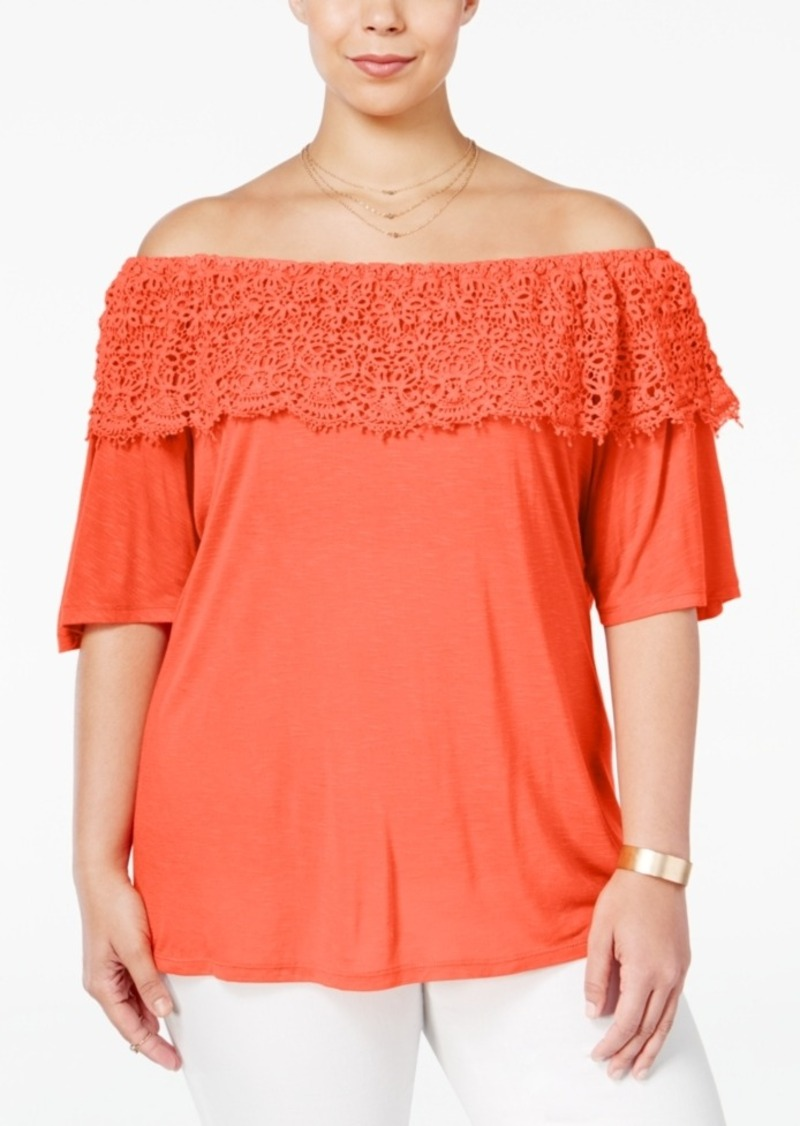 e8f0ba95ee093 American Rag American Rag Trendy Plus Size Off-The-Shoulder Top ...