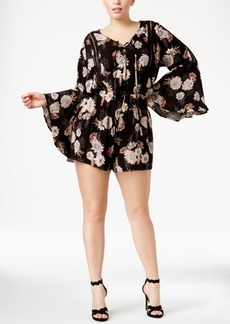 American Rag Trendy Plus Size Floral-Print Peasant Romper, Only at Macy's
