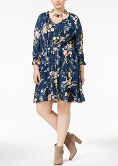 American Rag Trendy Plus Size Peasant Shirtdress, Only at Macy's