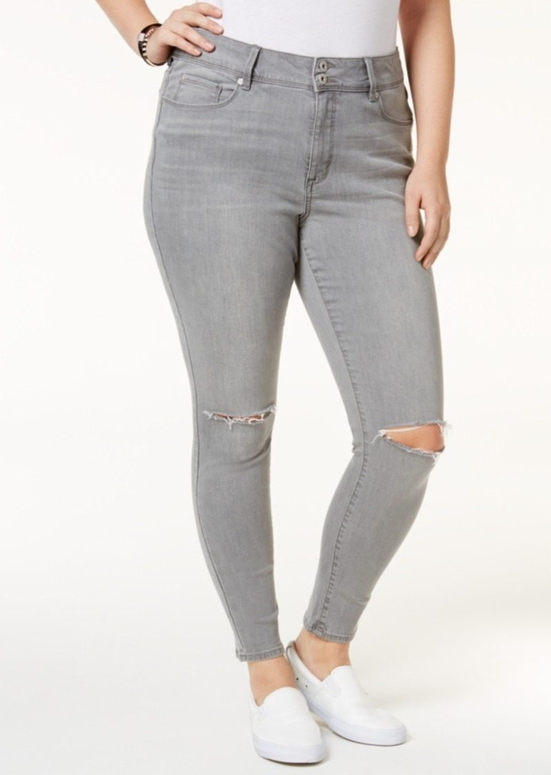 American Rag Trendy Plus Size Sierra Wash Ripped Skinny Jeans, Only at Macy's
