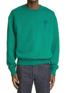 AMI Alexandre Mattiussi Ami de Coeur Embroidered Organic Cotton Sweatshirt