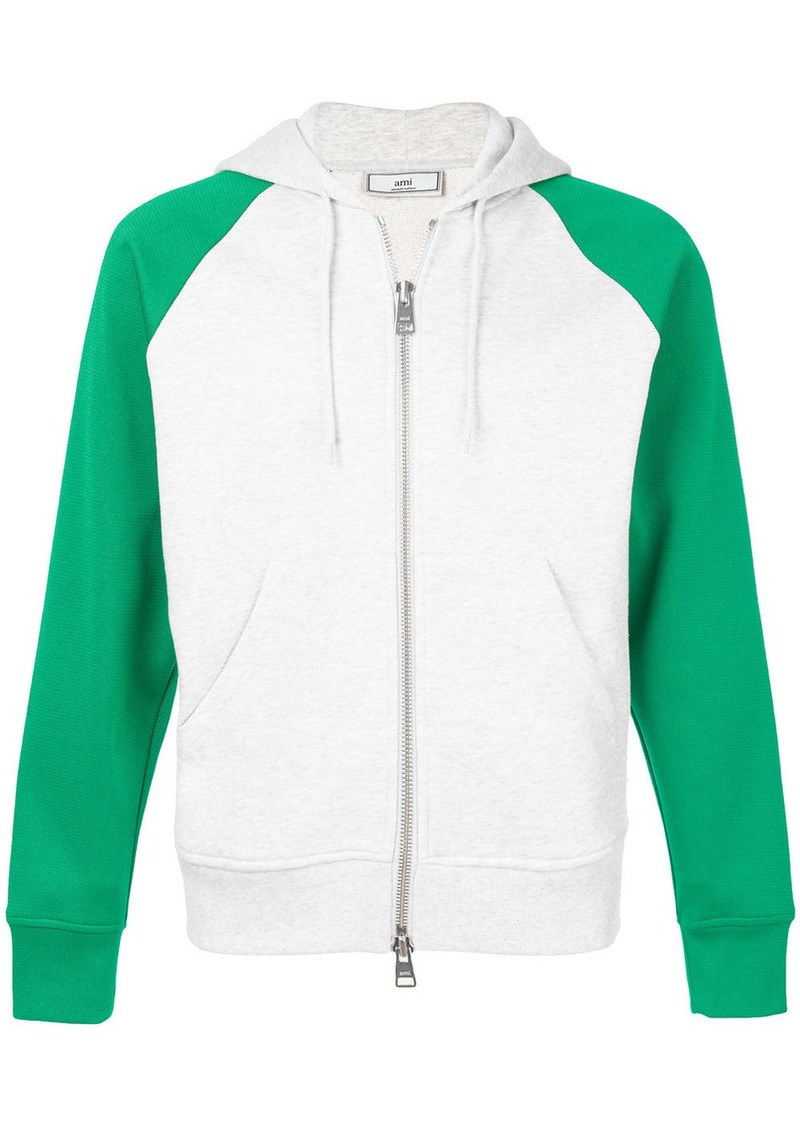 AMI Contrasted Bimaterial Zipped Hoodie