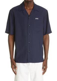 AMI Alexandre Mattiussi Logo Short Sleeve Button-Up Camp Shirt