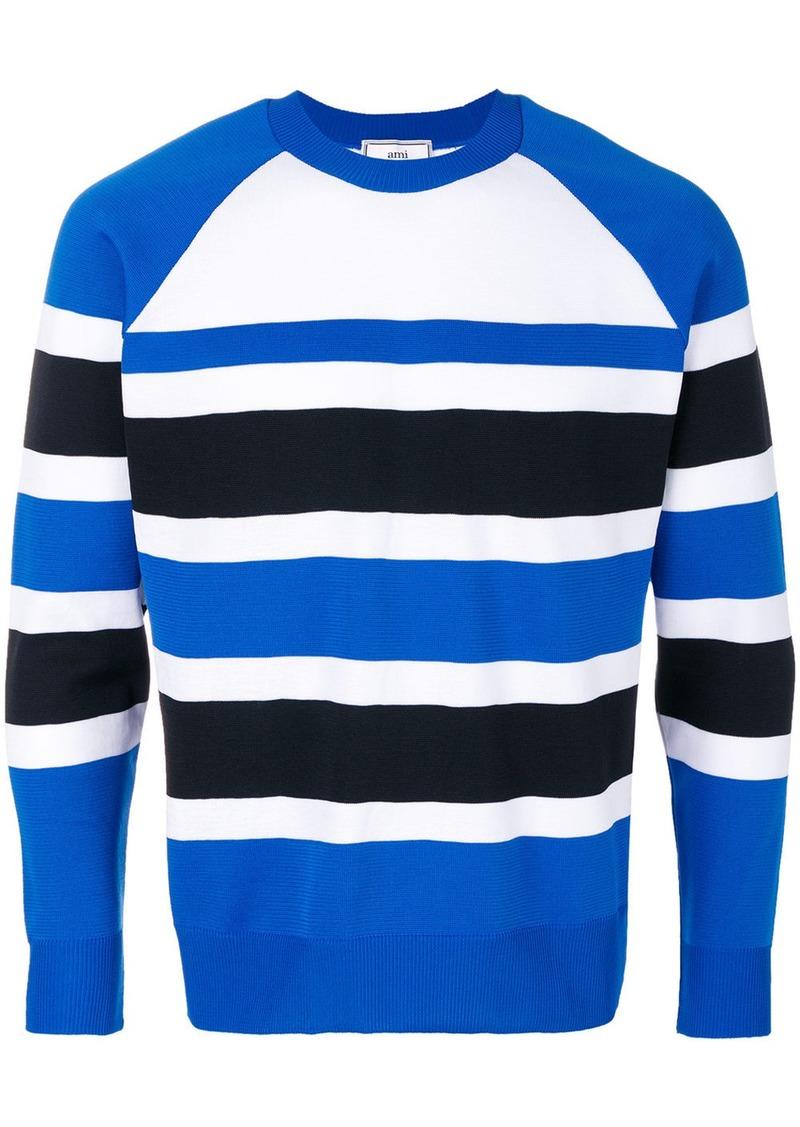 AMI Raglan Sleeves Striped Sweater