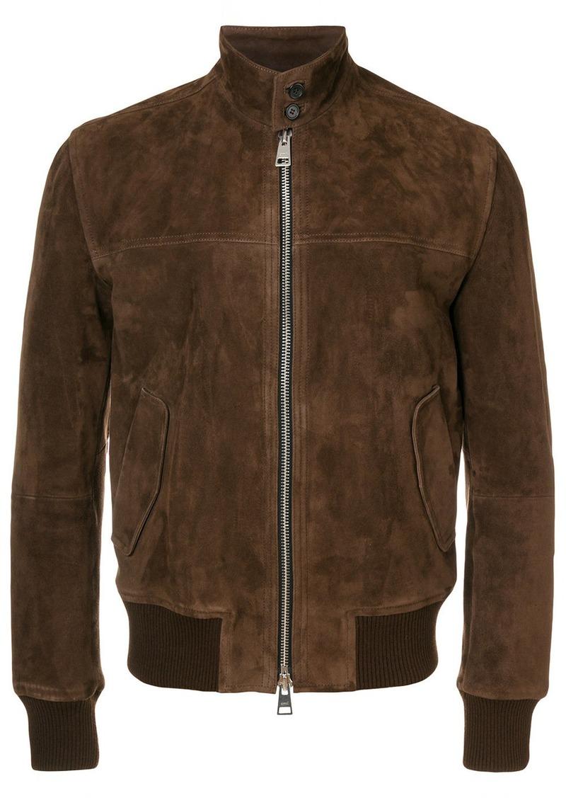 AMI suede zipped jacket Harrington collar
