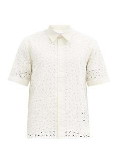 AMI Broderie-anglaise cotton-poplin shirt