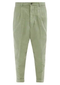 AMI Cropped cotton-twill trousers