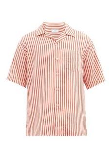 AMI Cuban-collar striped shirt