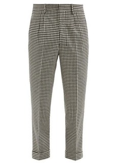 AMI Gingham-check tapered wool-blend trousers
