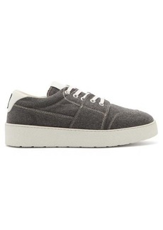 AMI Logo-embroidered canvas trainers