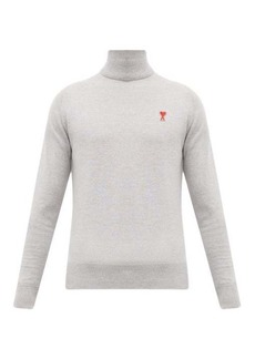 AMI Logo-embroidered roll-neck wool sweater
