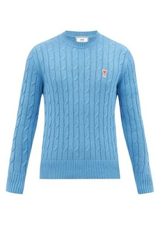 AMI Logo-patch cabled-rib cotton-blend sweater
