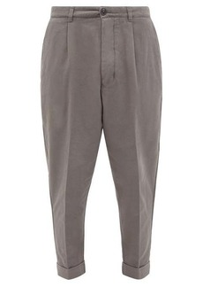AMI Tailored cotton carrot-leg trousers