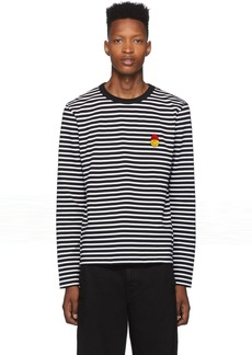 AMI Black & White Striped Smiley Edition Long Sleeve T-Shirt