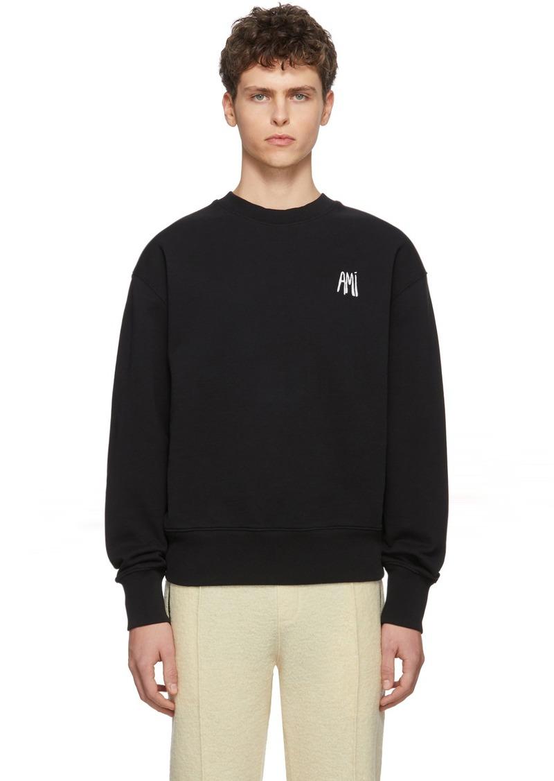 AMI Black Embroidered Logo Sweatshirt