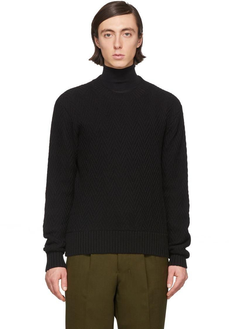 AMI Black Merino Herringbone Sweater