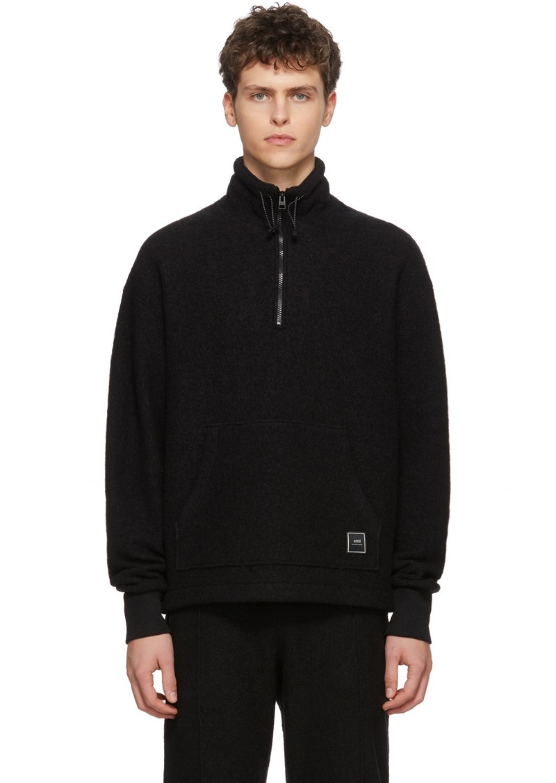 AMI Black Wool Half-Zip Sweater