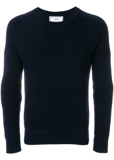 AMI Crew Neck Elbow Patches Fisherman's Rib Sweater