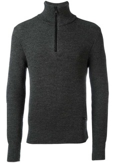 AMI fisherman rib half zipped sweater