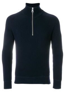 AMI Funnel Neck Fisherman's Rib Sweater