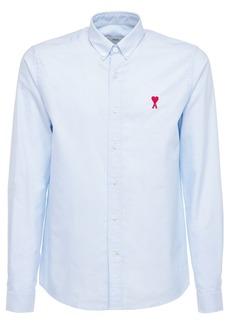 AMI Heart Patch Cotton Oxford Shirt