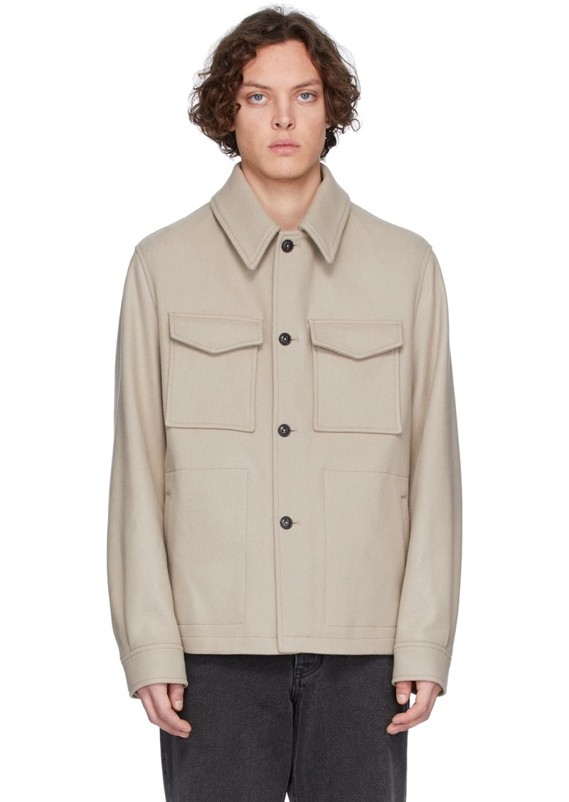AMI Off-White Wool Buttoned Shirt Jacket