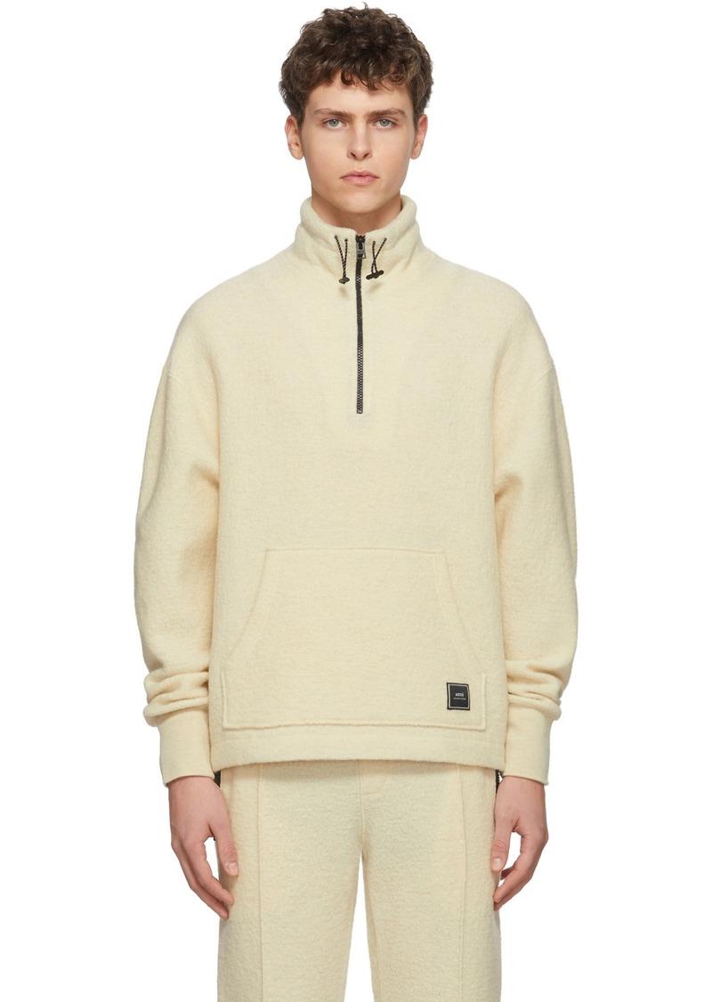 AMI Off-White Wool Half-Zip Sweater