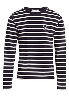 AMI Striped Logo Patch Long-Sleeve Tee