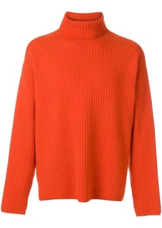 AMI Turtleneck Oversize Fit Double Face Rib Sweater
