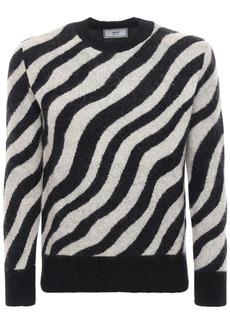 AMI Zebra Mohair Blend Knit Sweater