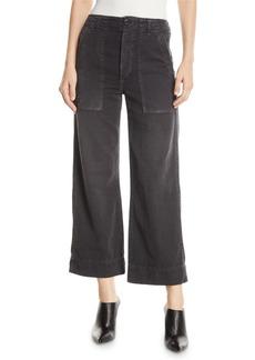 AMO Army Wide-Leg High-Waist Cropped Jeans