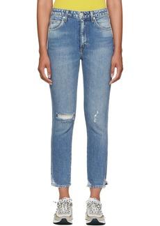 AMO Blue High-Rise Stix Cropped Jeans