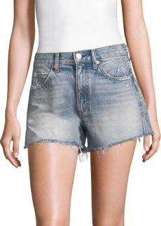 AMO High-Rise Rosebowl Slit Hem Denim Shorts