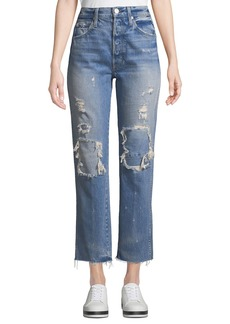 AMO Loverboy Patched High-Rise Straight-Leg Jeans
