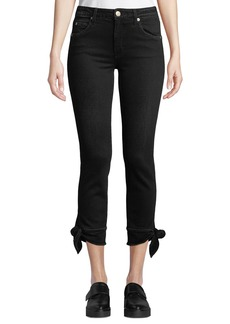 AMO Tie-Ankle Cropped Mid-Rise Skinny Jeans