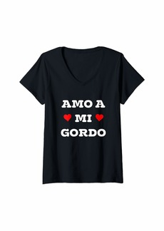Womens Amo A Mi Gordo V-Neck T-Shirt