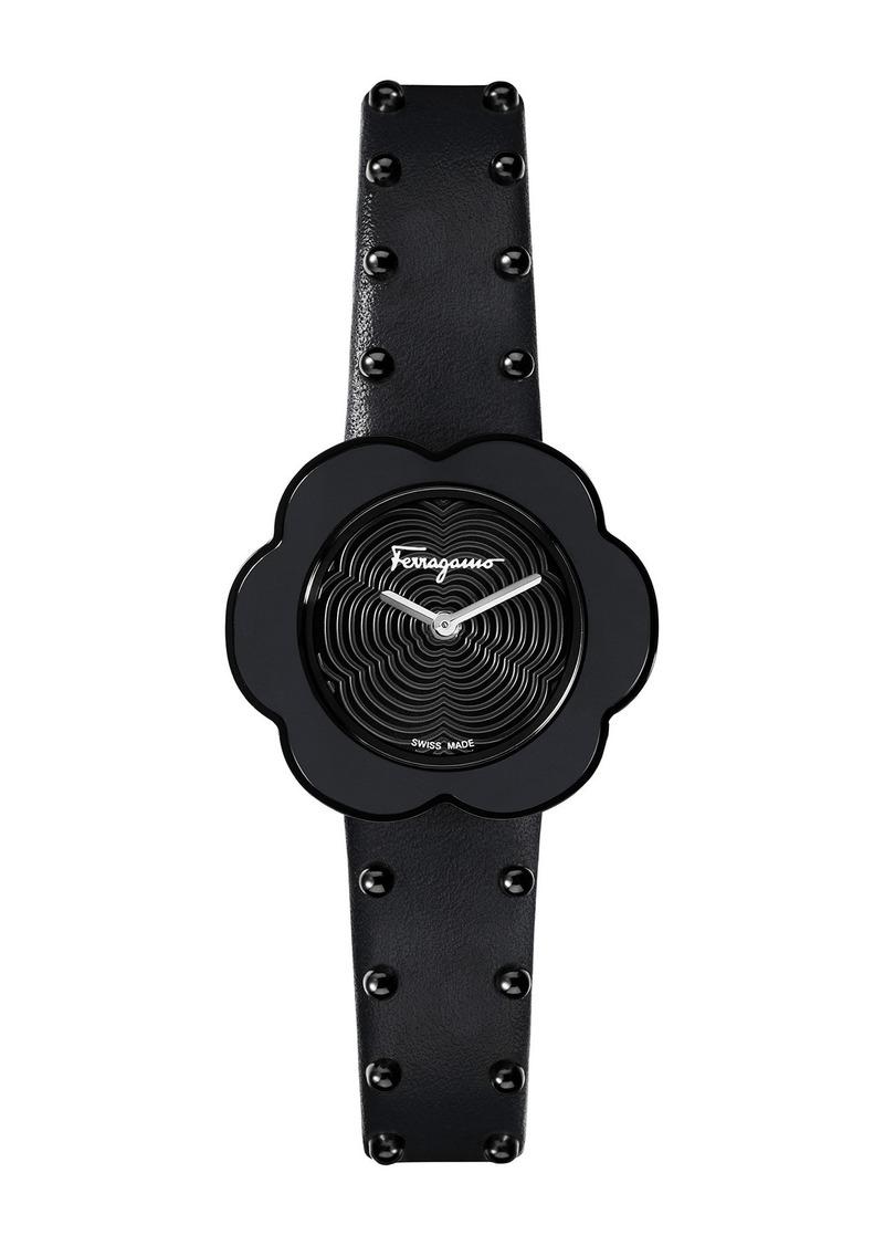 Ferragamo Women's Fiore Calfskin Leather Strap Watch, 30mm