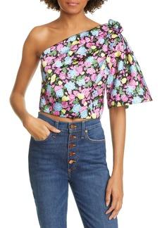 AMUR Anastasia Floral One-Shoulder Crop Top
