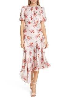 AMUR Bettina Floral Print Asymmetrical Dress