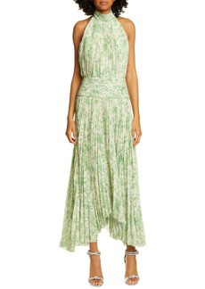 AMUR Bibi Pleated Floral Halter Maxi Dress